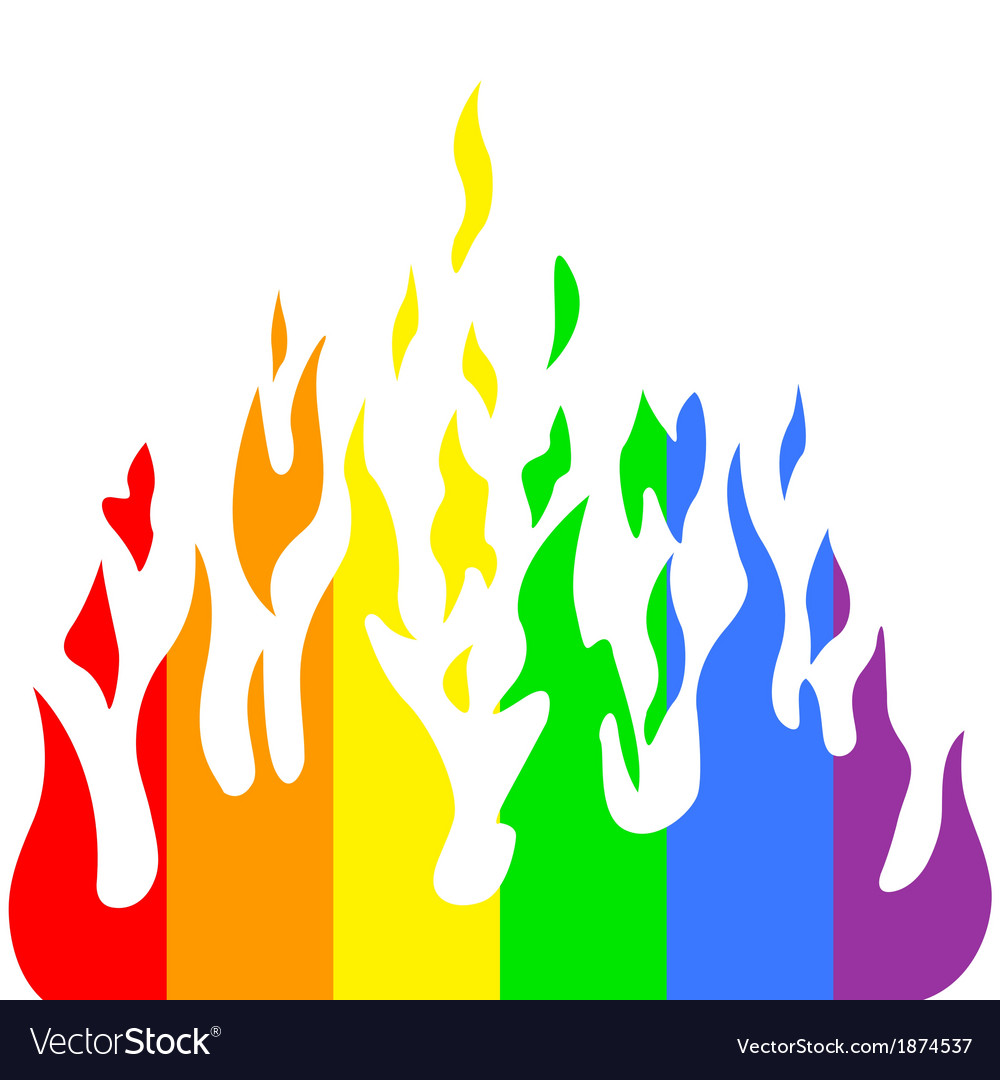 Burn flame fire rainbow colors vector | Price: 1 Credit (USD $1)