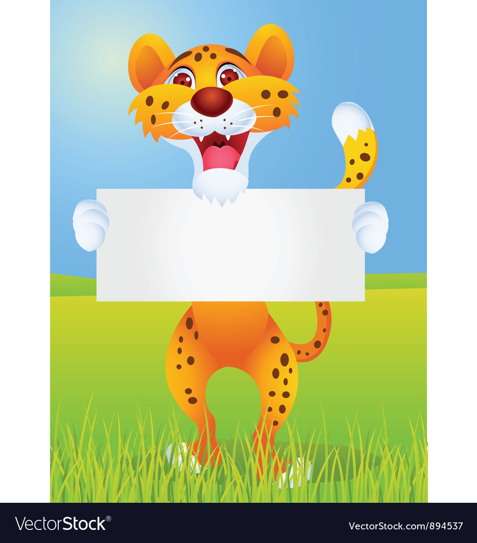 Cheetah cartoon with blank sign vector   Price: 3 Credit (USD $3)