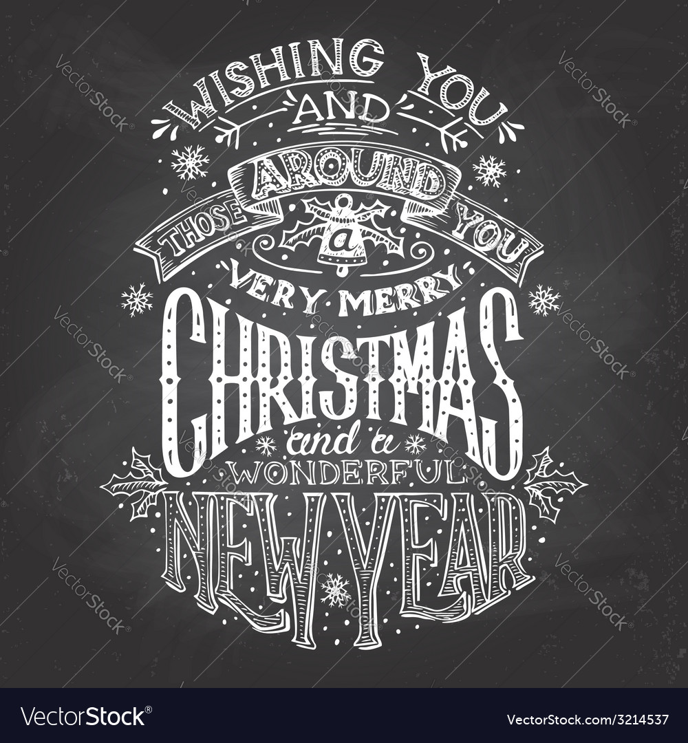 Christmas wishes hand-lettering with chalk vector | Price: 3 Credit (USD $3)