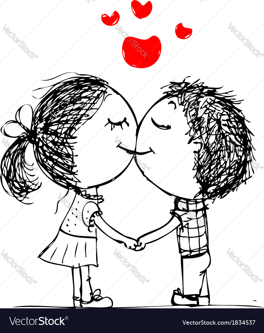 Couple kissing valentine sketch for your design vector | Price: 1 Credit (USD $1)