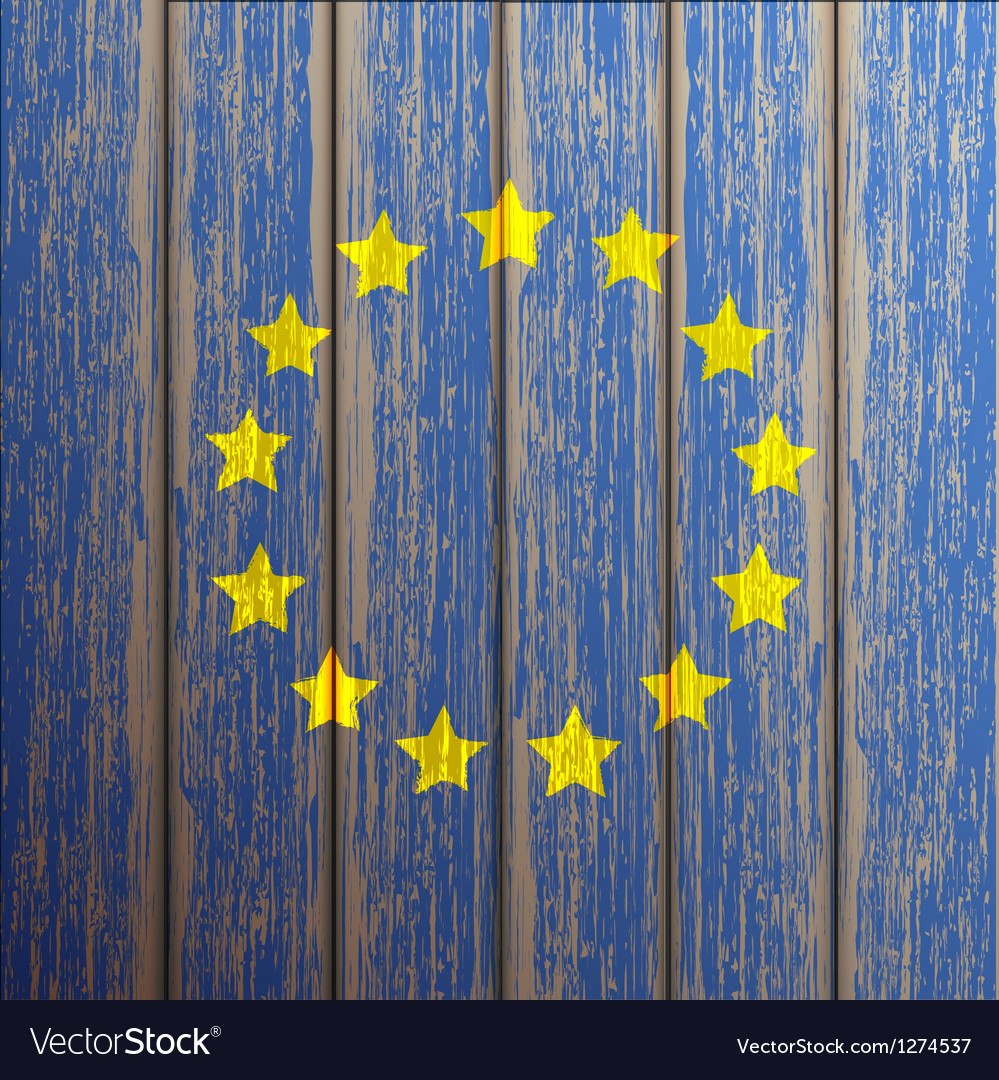 Euro flag painted on old wooden background vector | Price: 1 Credit (USD $1)