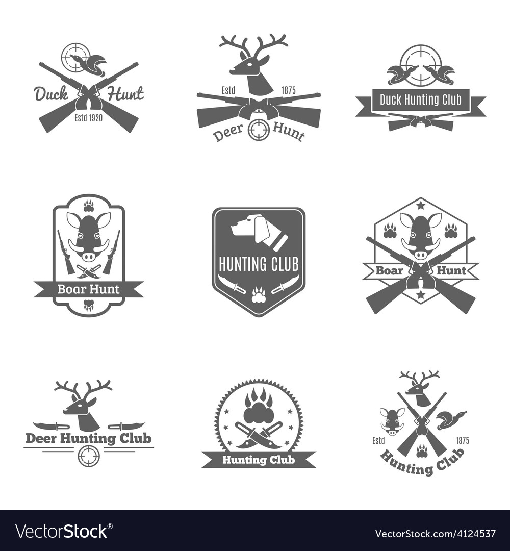 Hunting label set vector