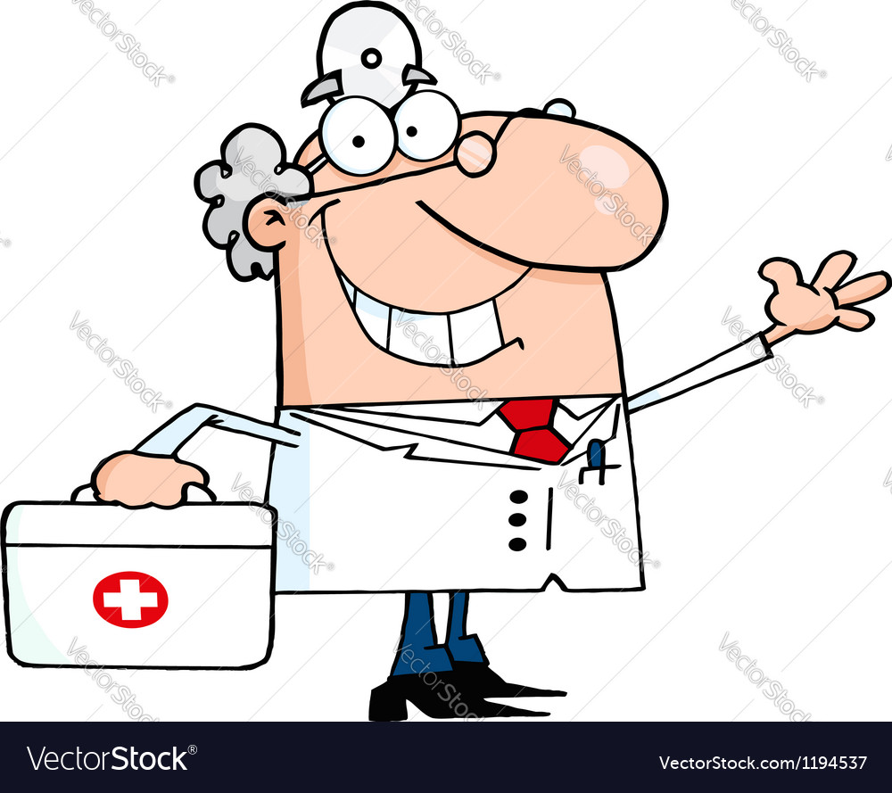 Waving caucasian male doctor with a first aid kit vector | Price: 1 Credit (USD $1)