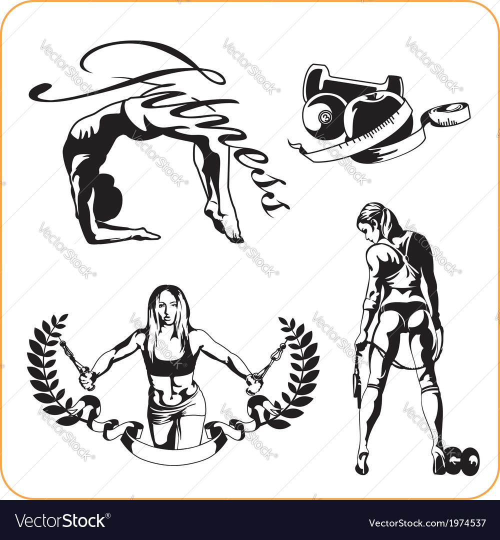 Woman engaged in fitness - vector | Price: 1 Credit (USD $1)