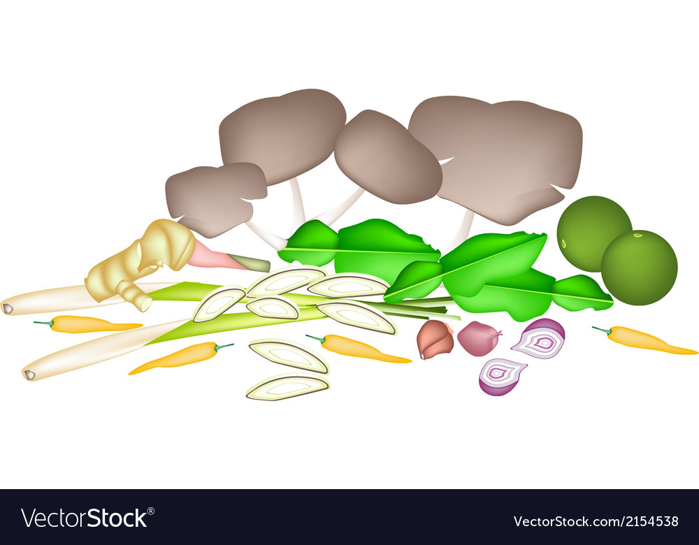 A stack of tom yum soup ingredient vector | Price: 1 Credit (USD $1)