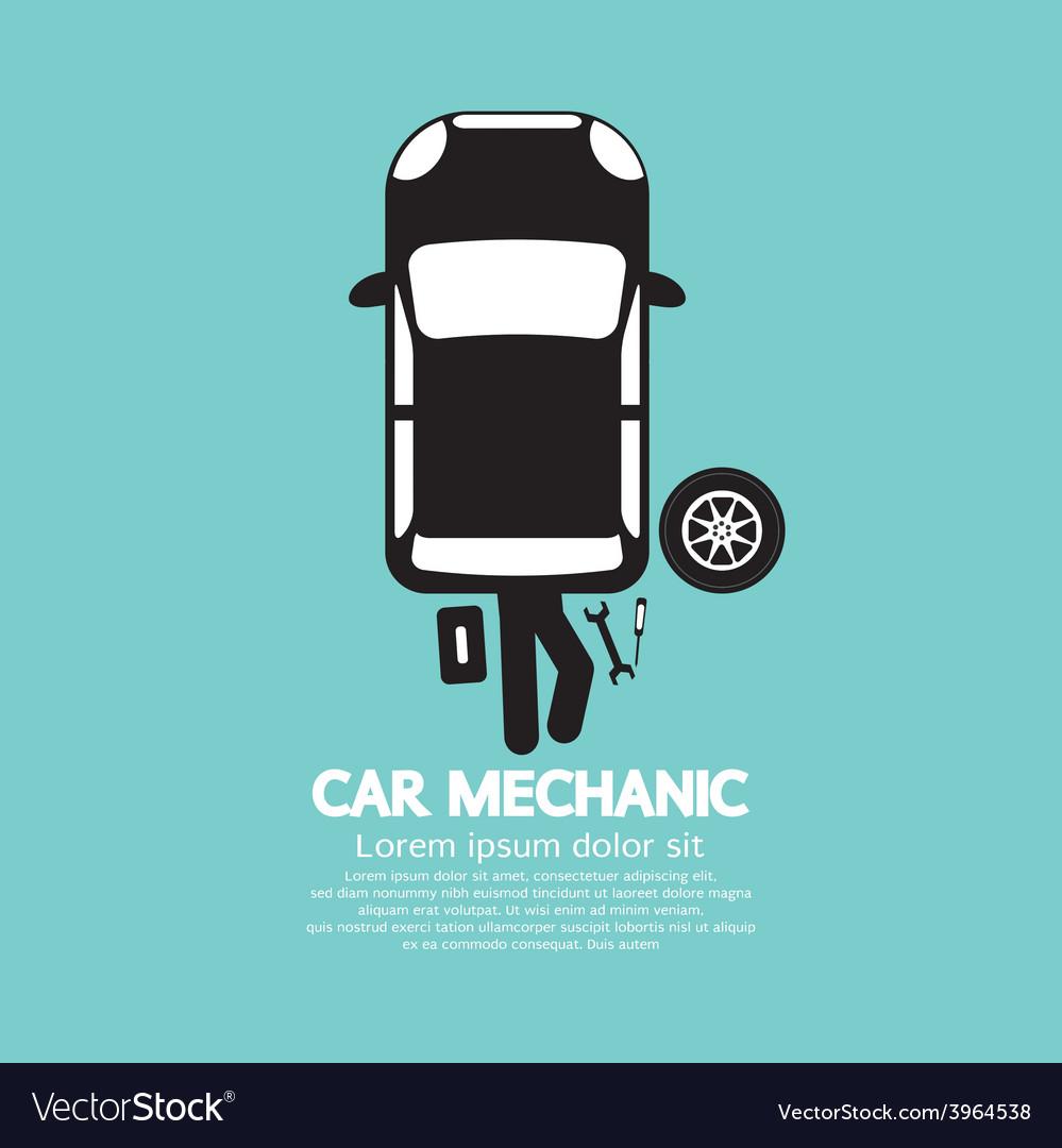 Car mechanic repairing under automobile vector   Price: 1 Credit (USD $1)