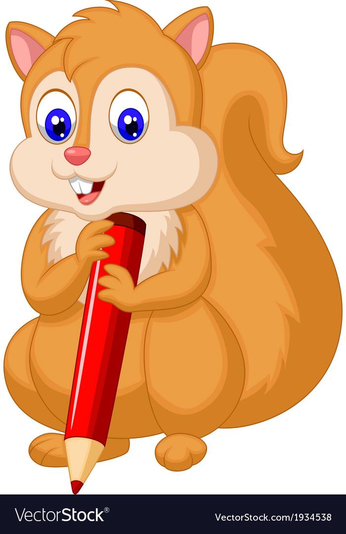 Cute squirrel cartoon holding pencil vector | Price: 1 Credit (USD $1)