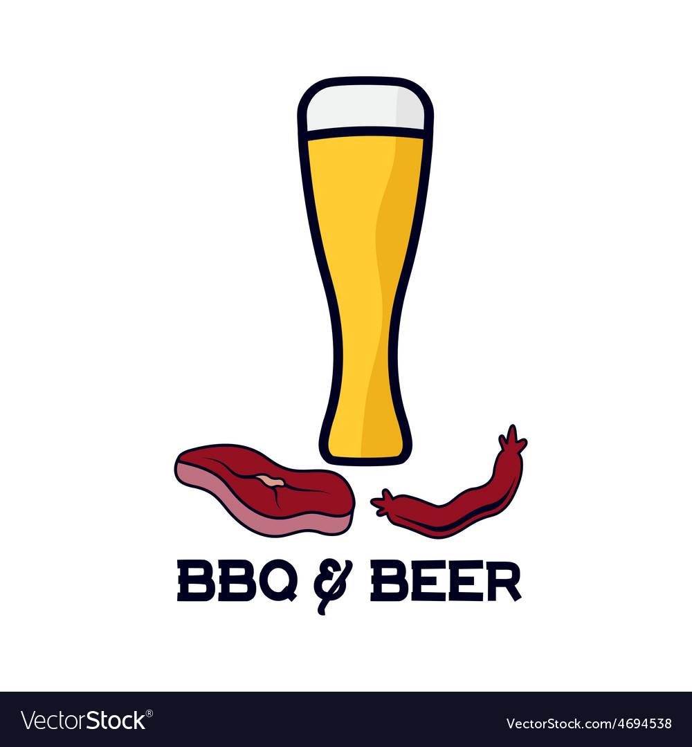 Glass of beer with sausage and steak vector | Price: 1 Credit (USD $1)