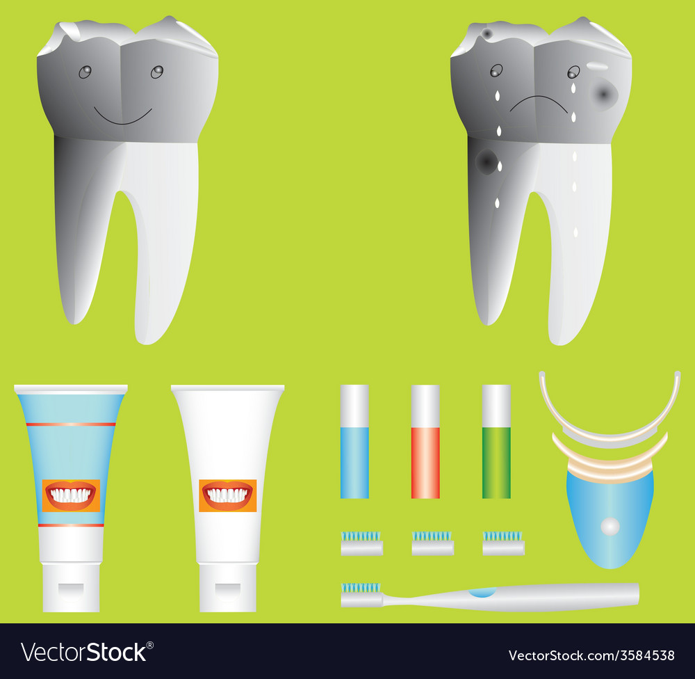 Healthy and unhealthy tooth vector | Price: 1 Credit (USD $1)
