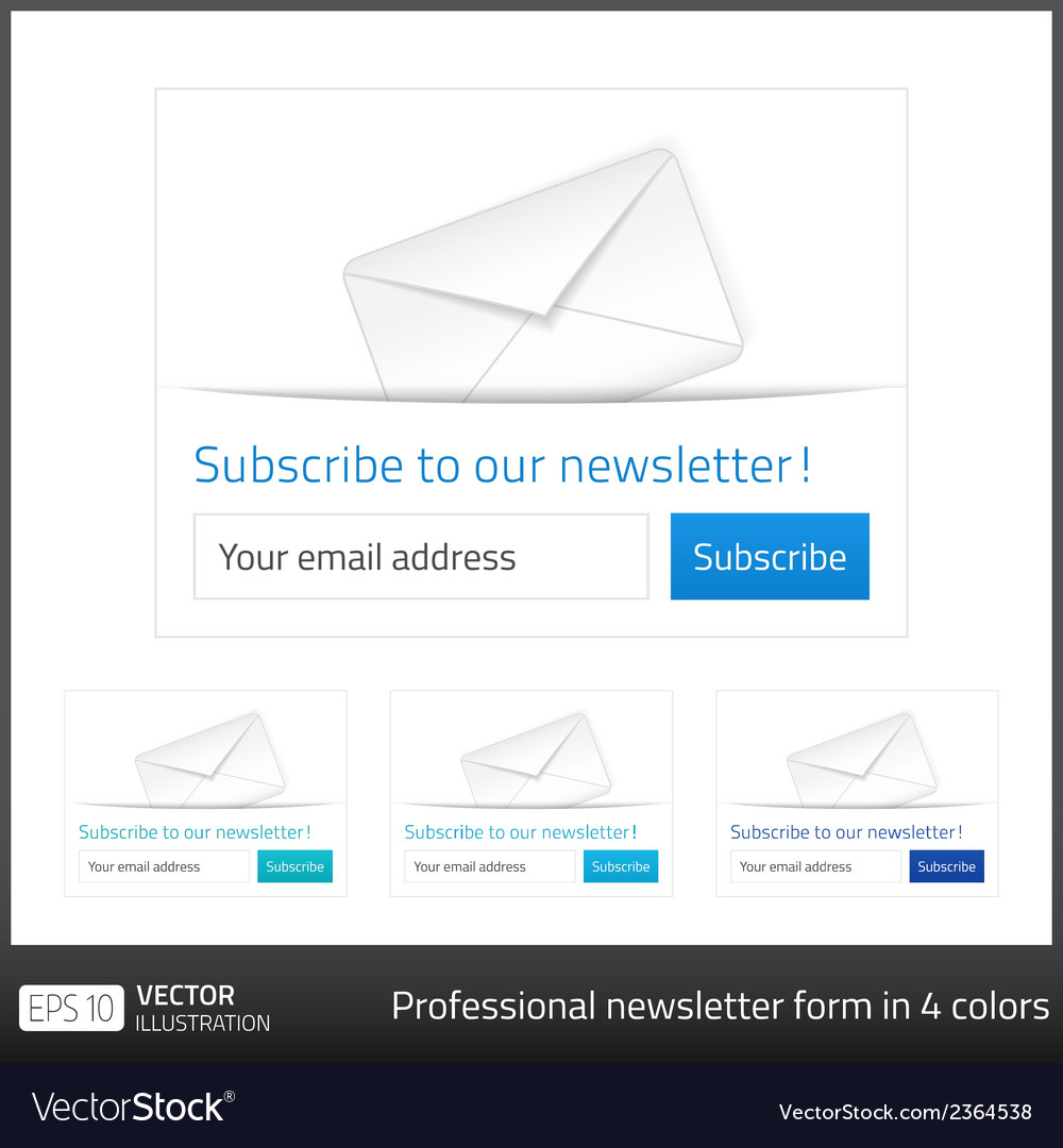 Light subscribe to newsletter form with white vector | Price: 1 Credit (USD $1)