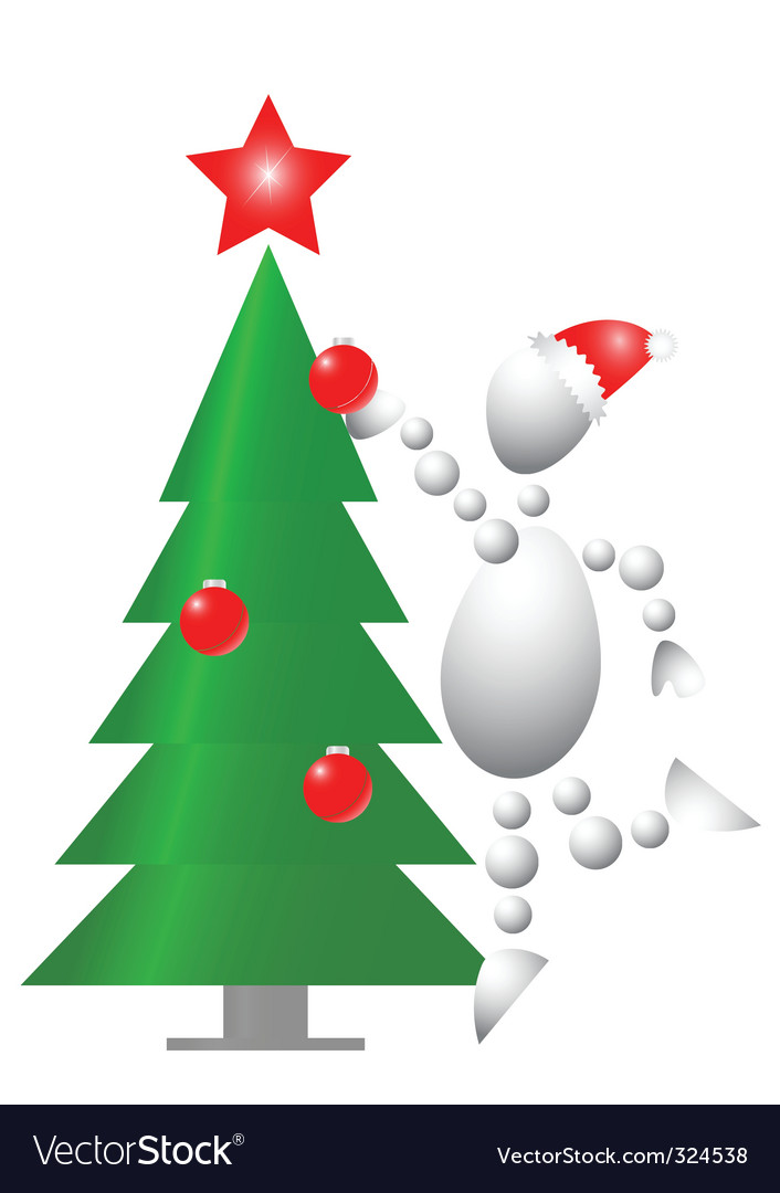 Man decorate christmas fur tree vector | Price: 1 Credit (USD $1)