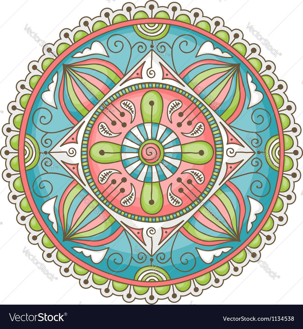 Mandala doodle color vector | Price: 1 Credit (USD $1)
