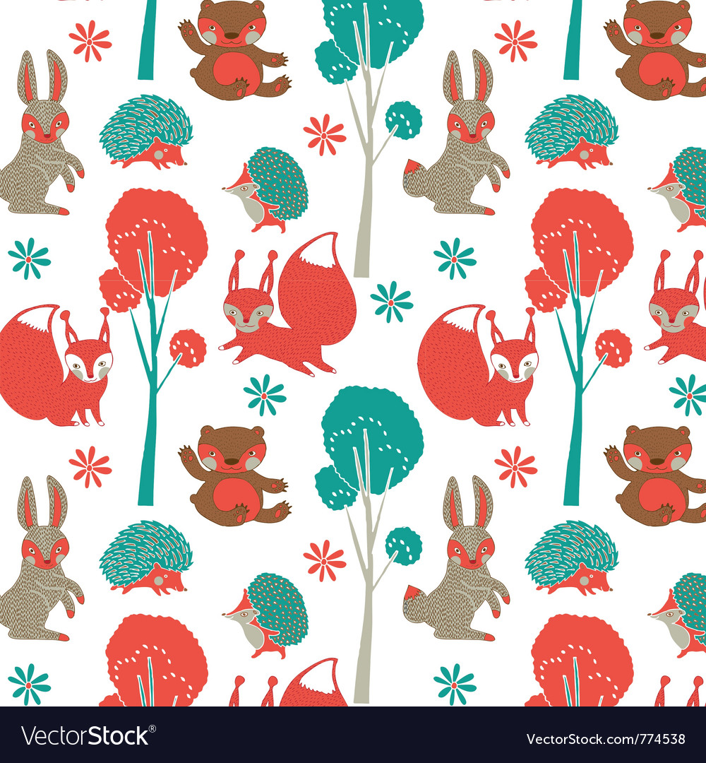 Rabbit forest wallpaper vector | Price: 1 Credit (USD $1)