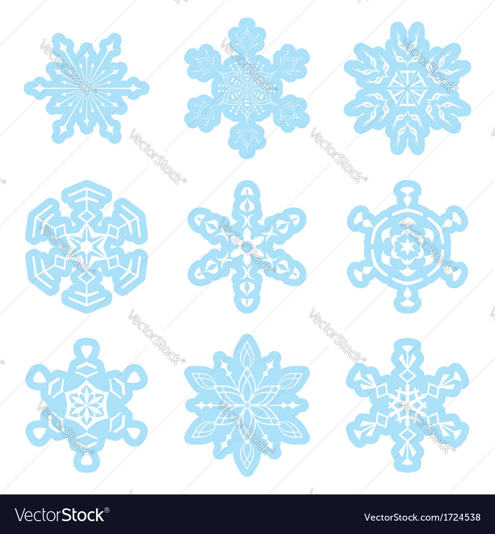 Set - blue and white snowflakes vector | Price: 1 Credit (USD $1)