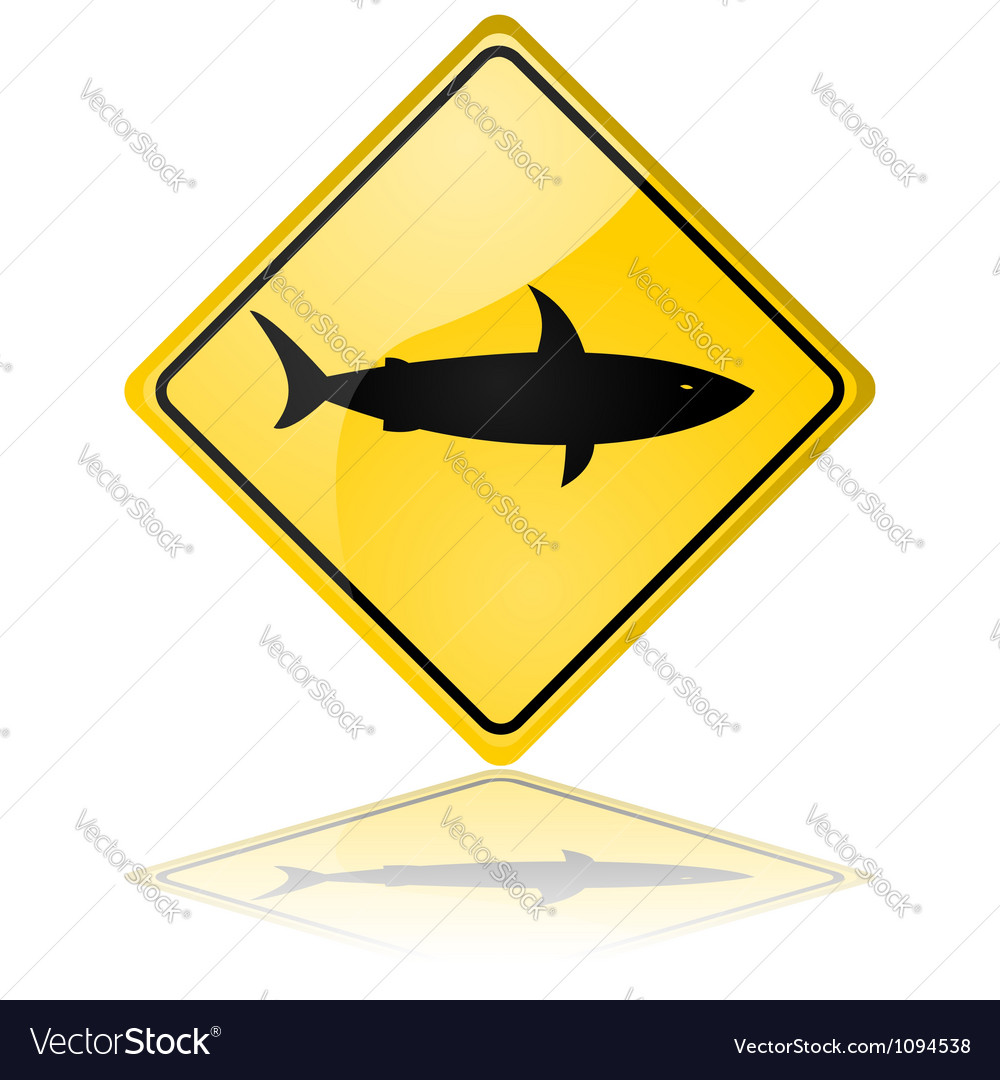 Shark warning sign vector | Price: 1 Credit (USD $1)