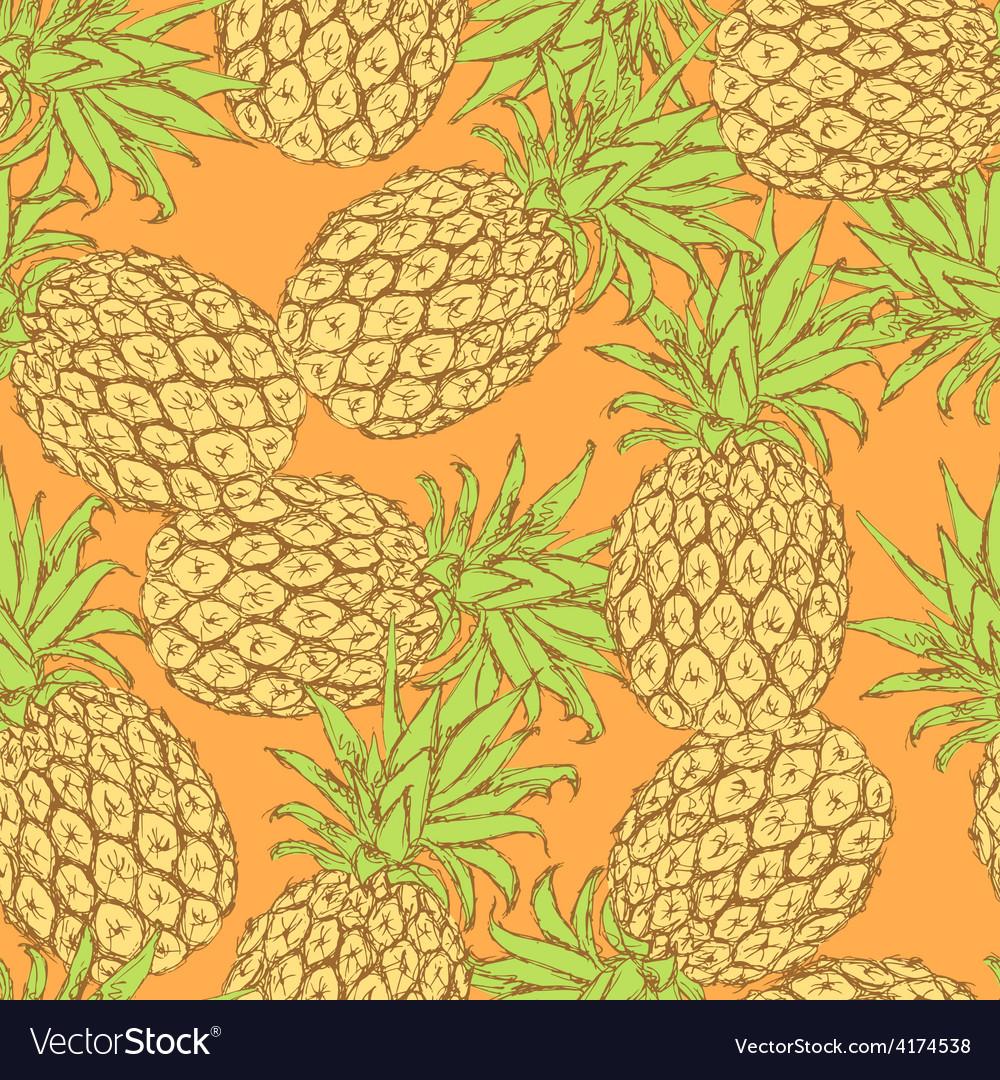 Sketch tasty pineapple in vintage style vector | Price: 1 Credit (USD $1)