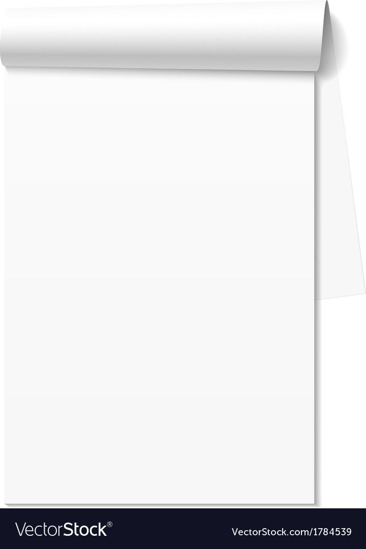 Blank white notepad notebook vector | Price: 1 Credit (USD $1)