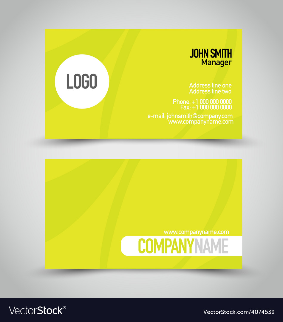Business card set template bright green color vector | Price: 1 Credit (USD $1)