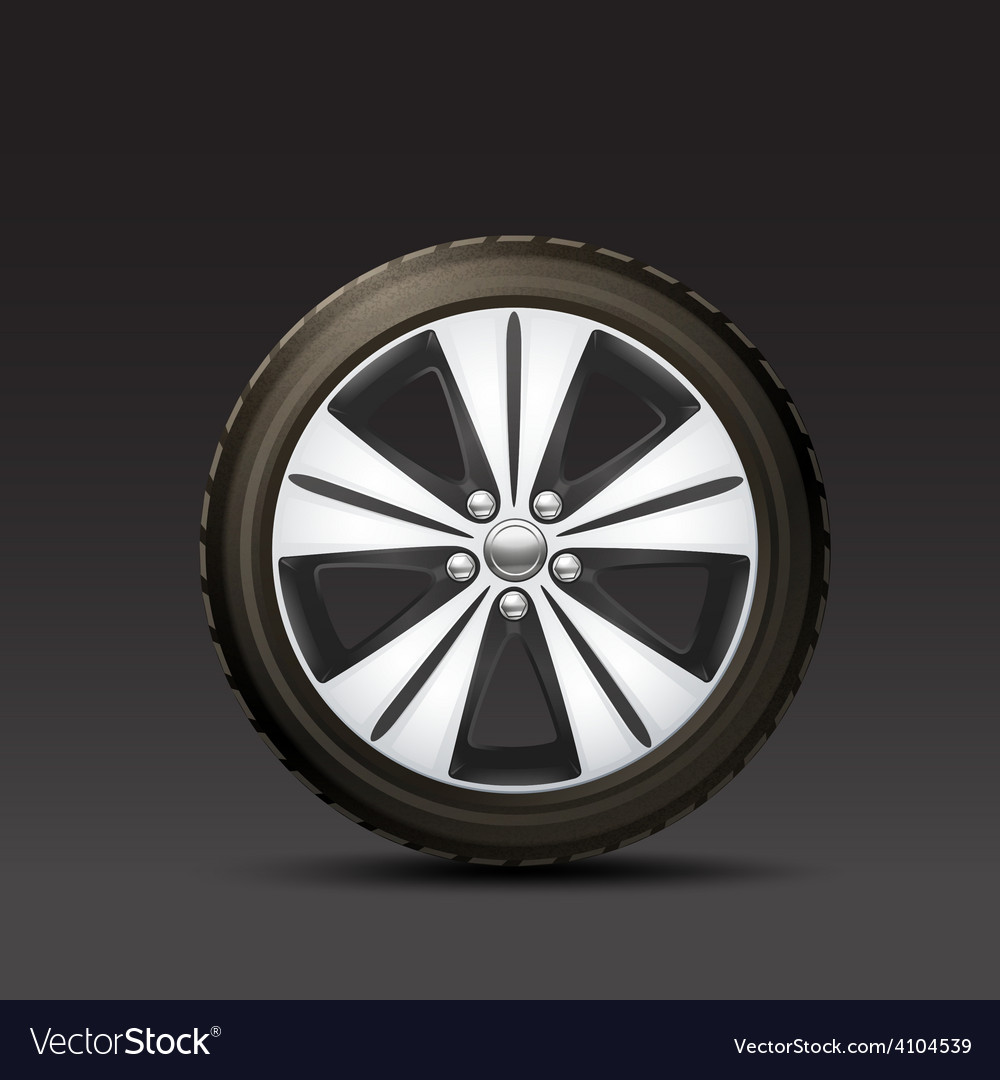 Car wheel black background vector | Price: 1 Credit (USD $1)