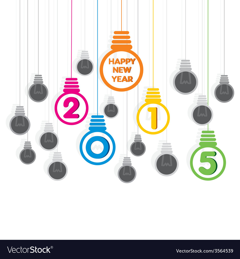 Creative happy new year 2015 bulb greeting design vector | Price: 1 Credit (USD $1)