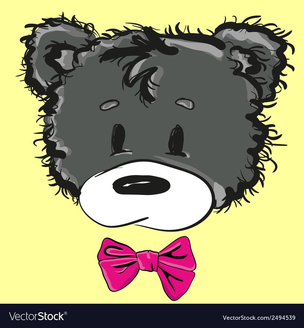 Cute cartoon teddy bear with a bow vector | Price: 1 Credit (USD $1)