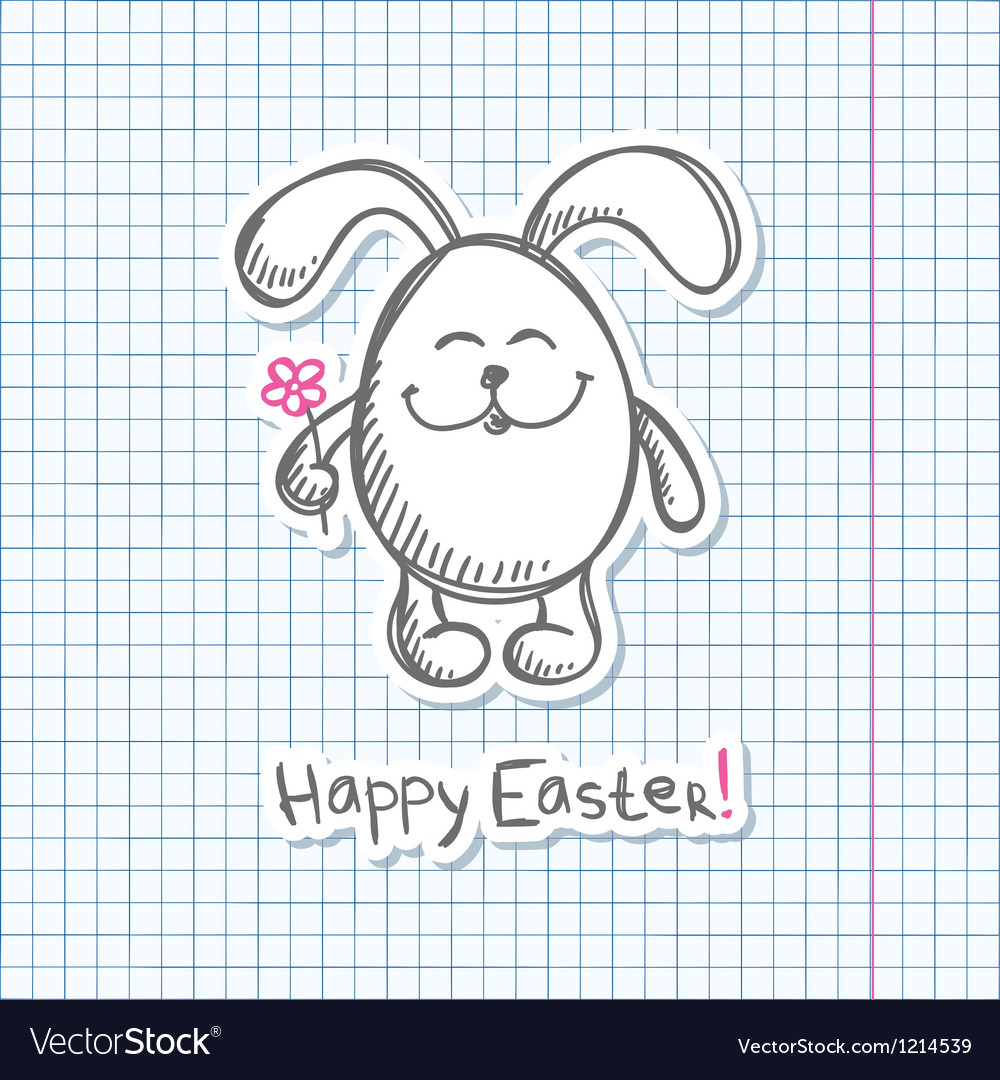 Easter bunny sticker vector | Price: 1 Credit (USD $1)