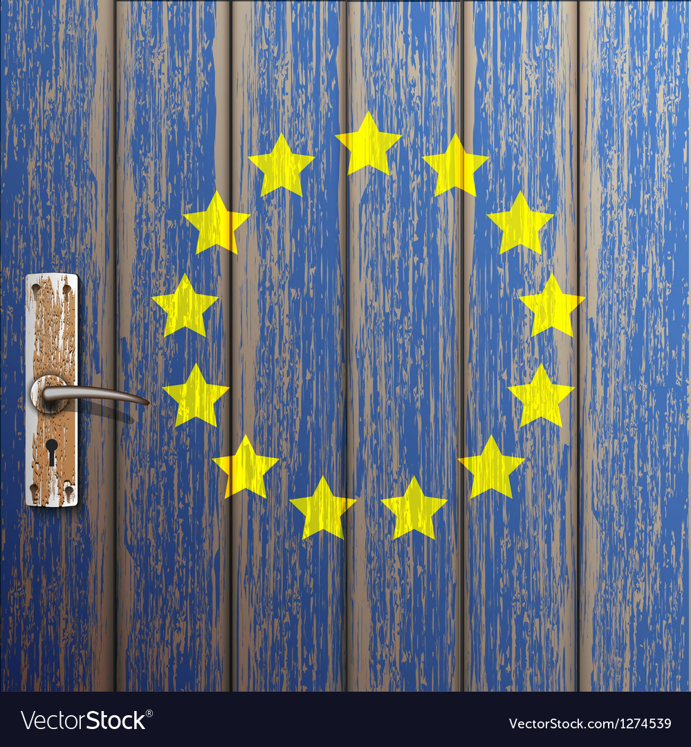 Euro flag painted on old wooden door vector