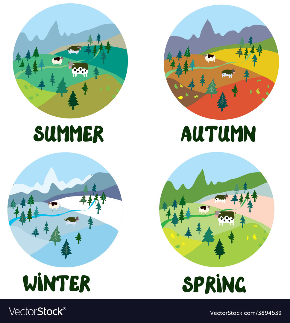 Farm rural landscape in four seasons vector | Price: 1 Credit (USD $1)