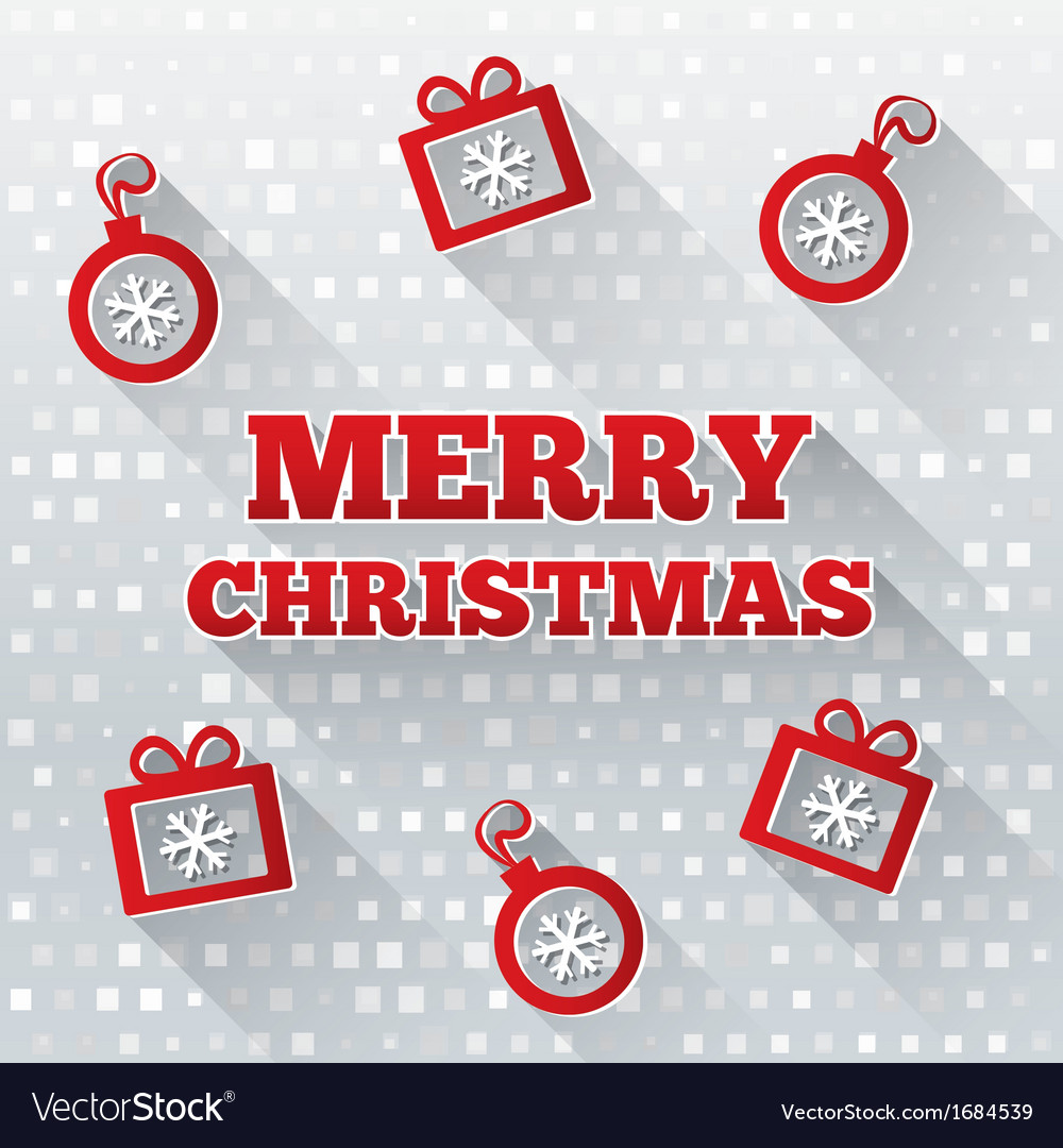 Merry christmas greeting card with flat icons vector | Price: 1 Credit (USD $1)