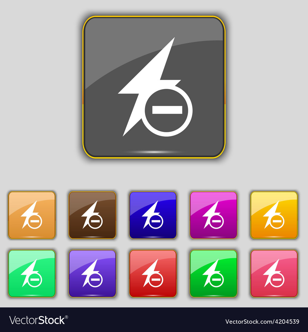 Photo flash icon sign set with eleven colored vector | Price: 1 Credit (USD $1)
