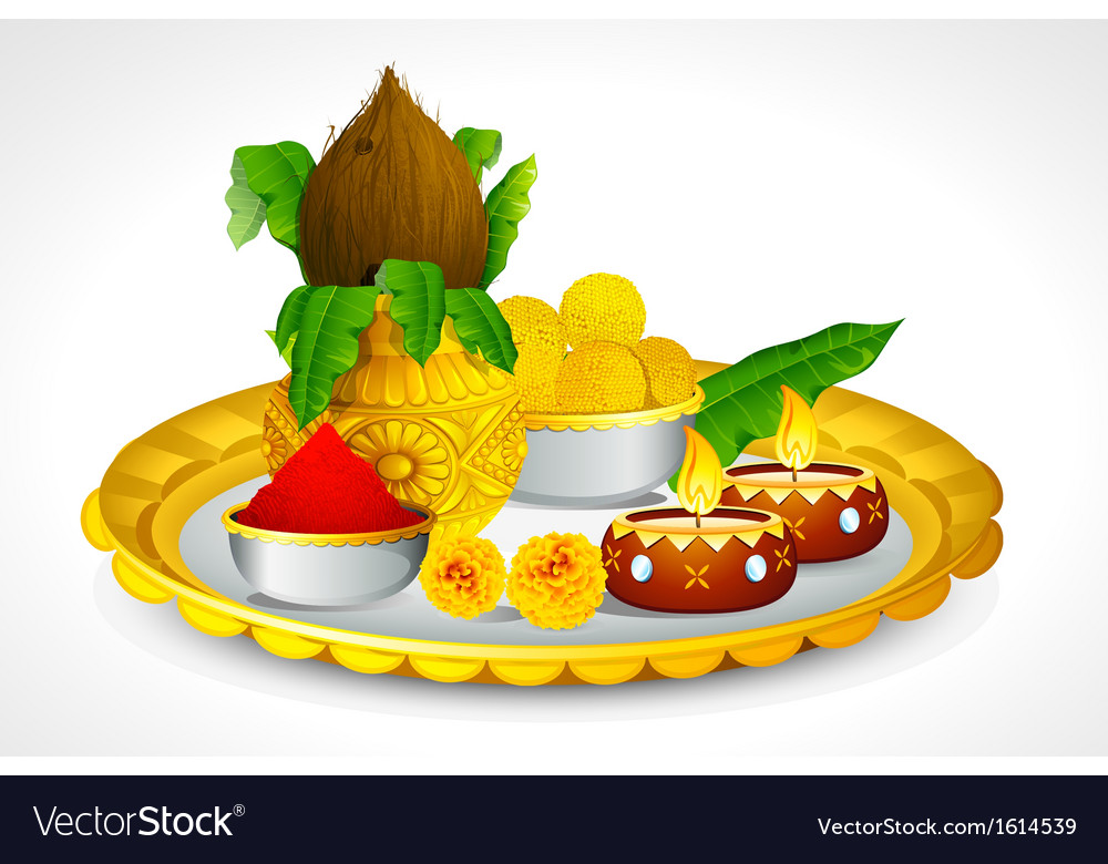 Puja thali vector | Price: 1 Credit (USD $1)