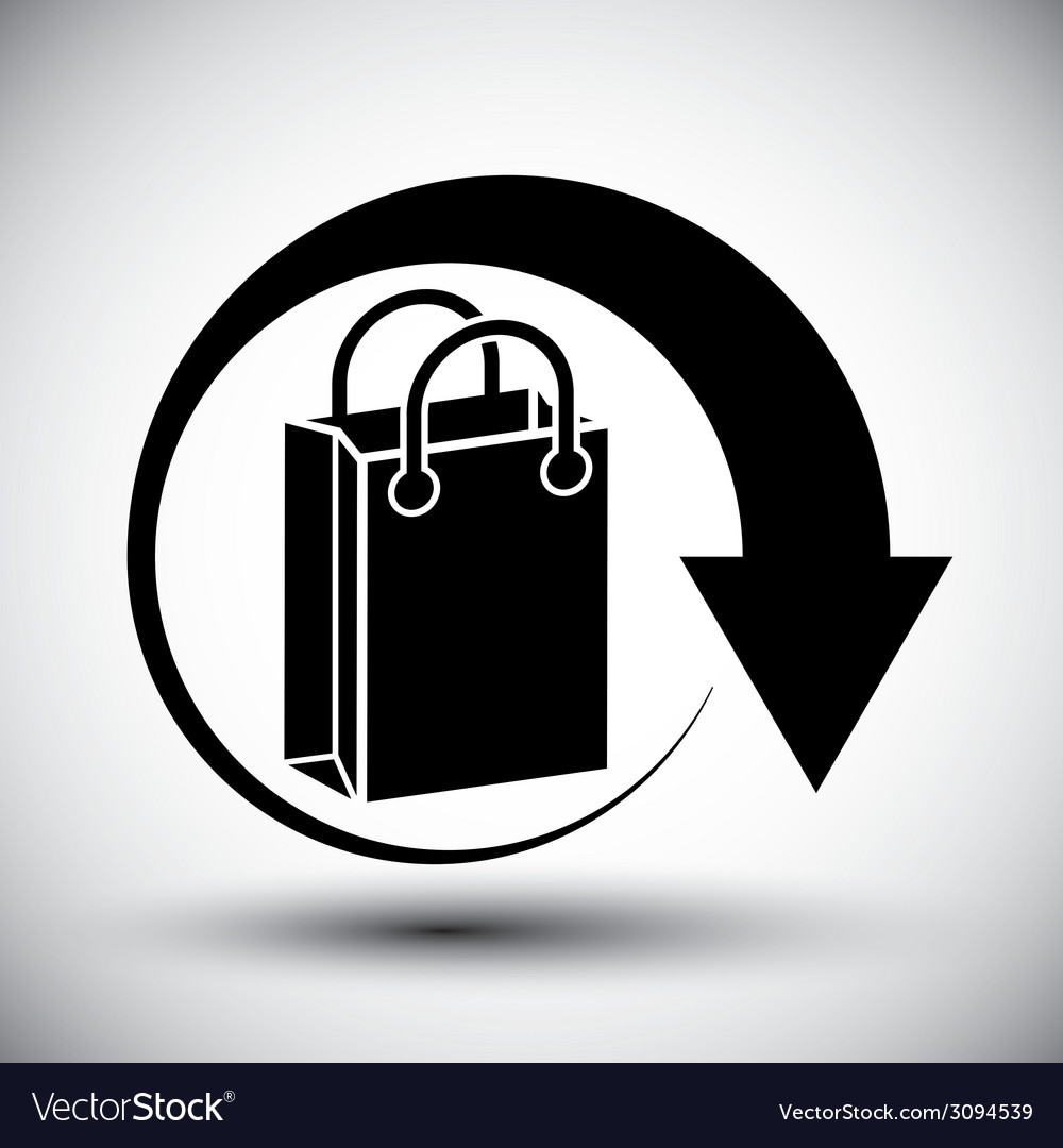 Shopping bag delivery simple single color icon vector | Price: 1 Credit (USD $1)