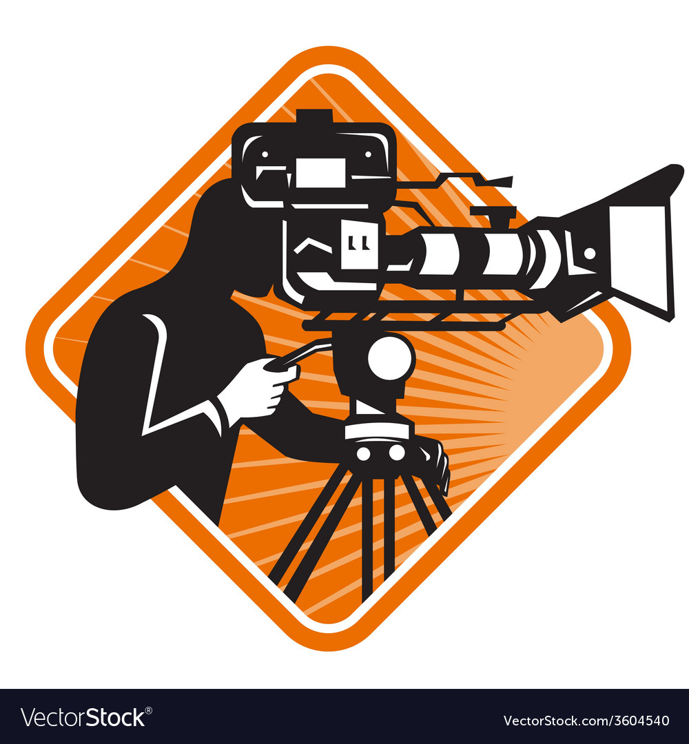 Film crew cameraman shooting filming camera vector | Price: 1 Credit (USD $1)