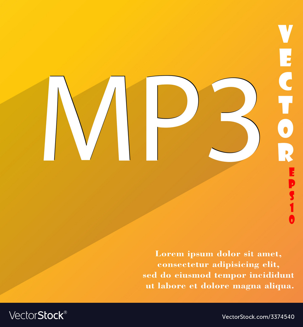 Mp3 music format icon symbol flat modern web vector   Price: 1 Credit (USD $1)