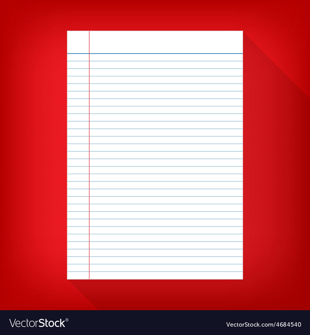 Notebook paper isolated red background empty vector | Price: 1 Credit (USD $1)
