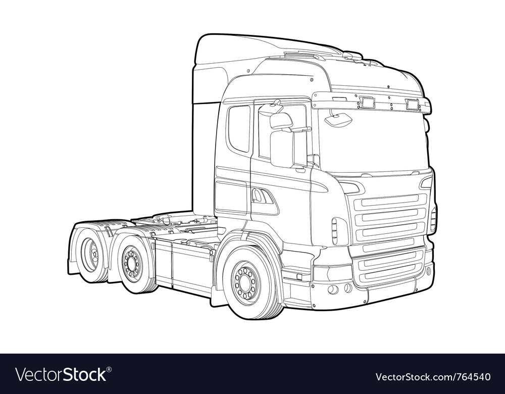 Outline truck vector | Price: 1 Credit (USD $1)