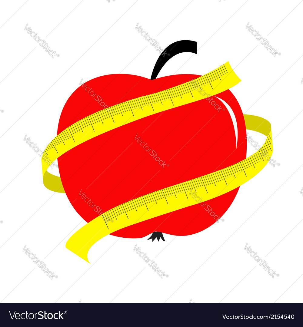 Red apple with yellow measuring tape ruler diet vector | Price: 1 Credit (USD $1)