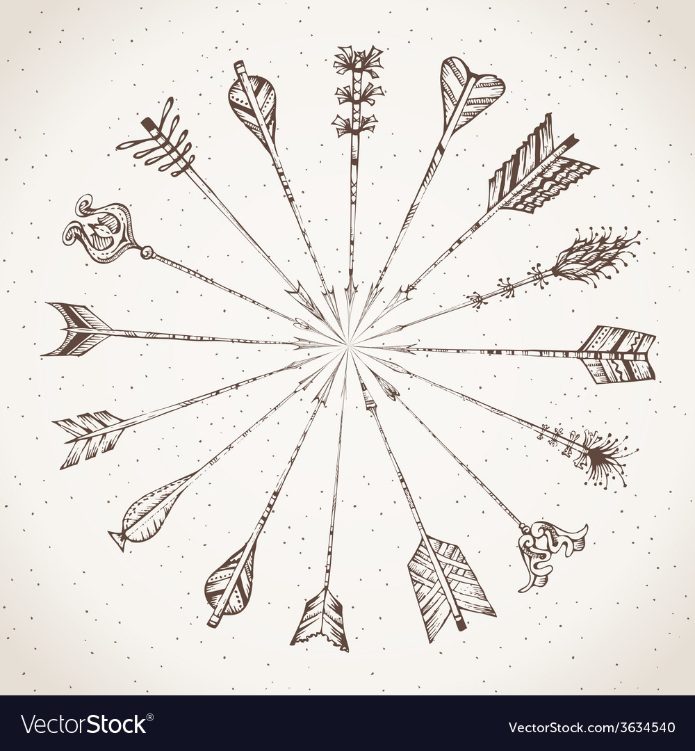 Sepia handdrawn arrows vector