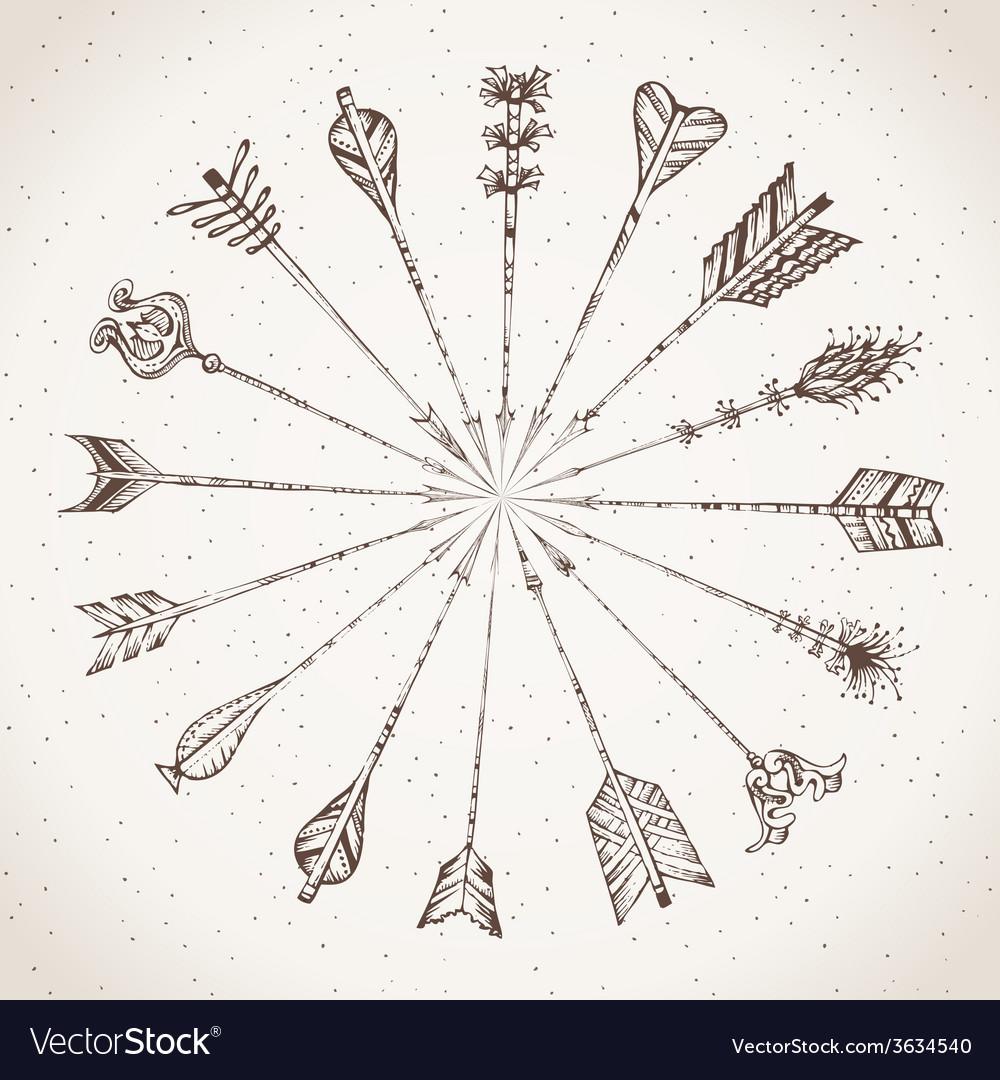 Sepia hand-drawn arrows vector | Price: 1 Credit (USD $1)