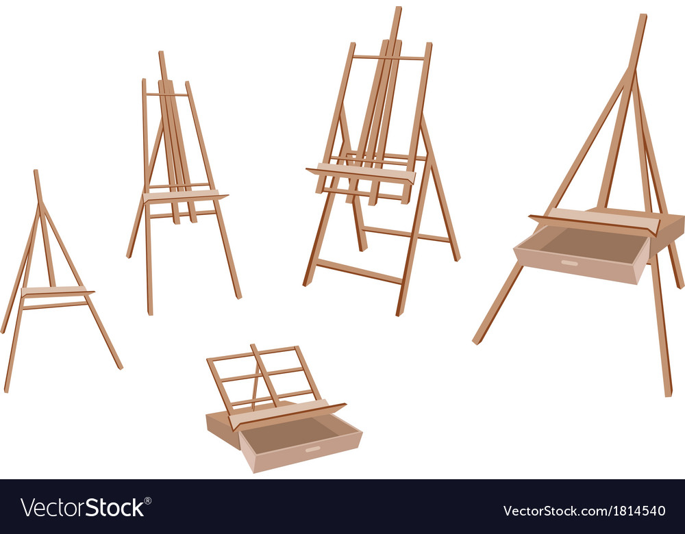 Set of wooden easel on white background vector   Price: 1 Credit (USD $1)