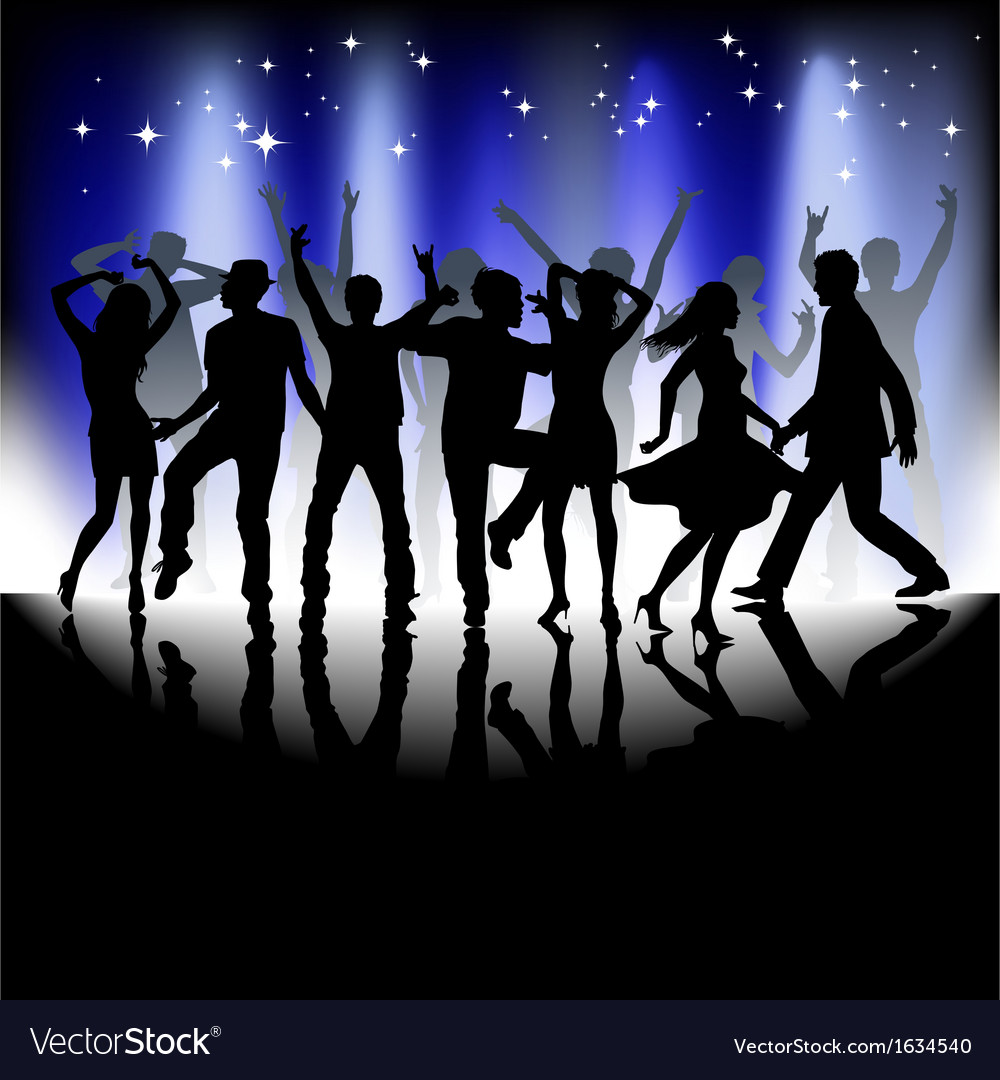 Several people are dancing silhouette vector | Price: 1 Credit (USD $1)
