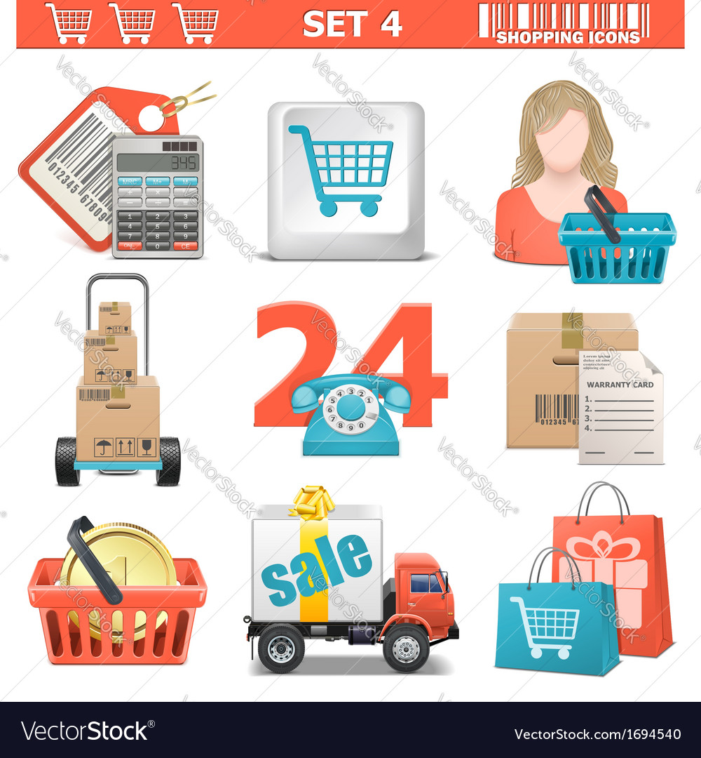Shopping icons set 4 vector | Price: 1 Credit (USD $1)