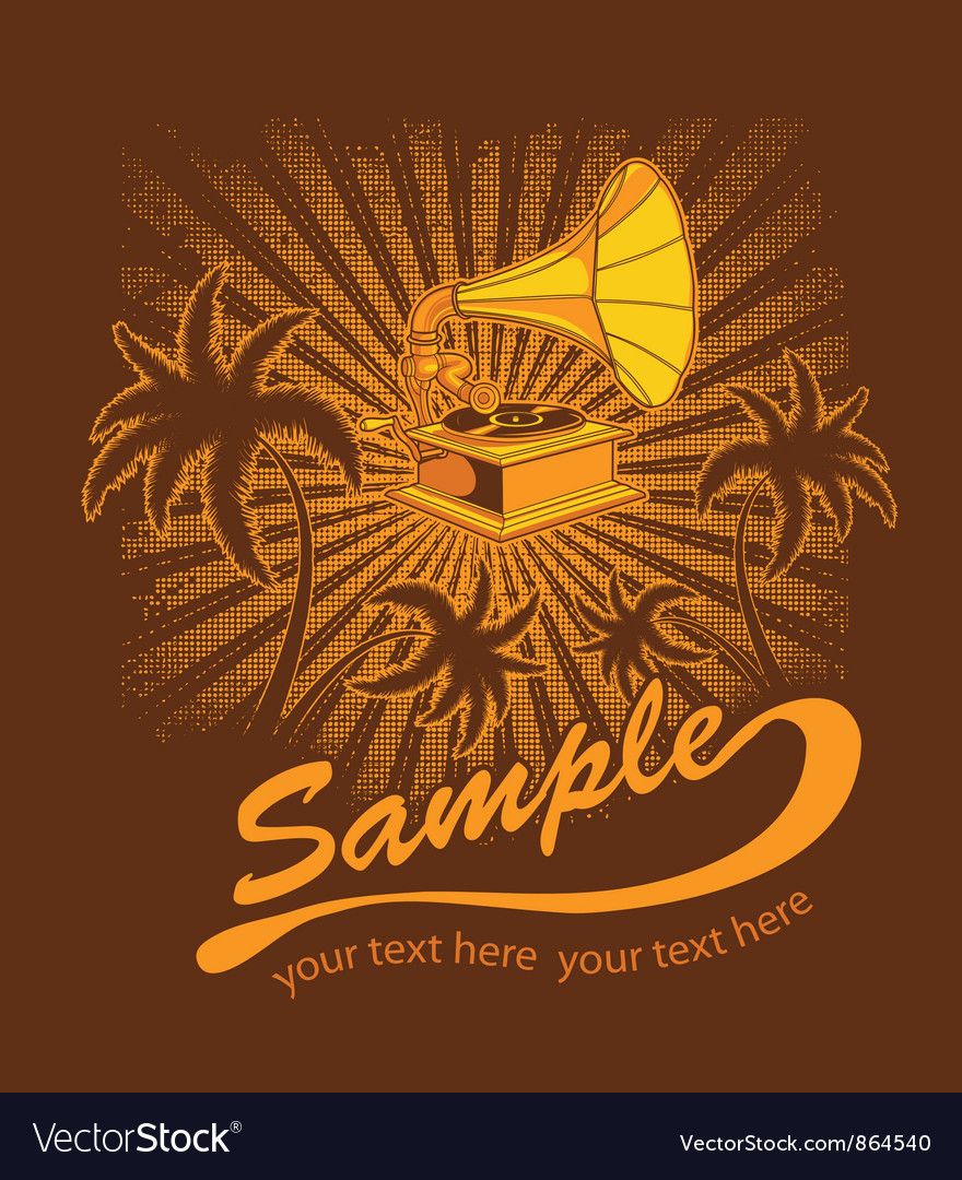 Summer music t-shirt design with gramophone vector | Price: 1 Credit (USD $1)
