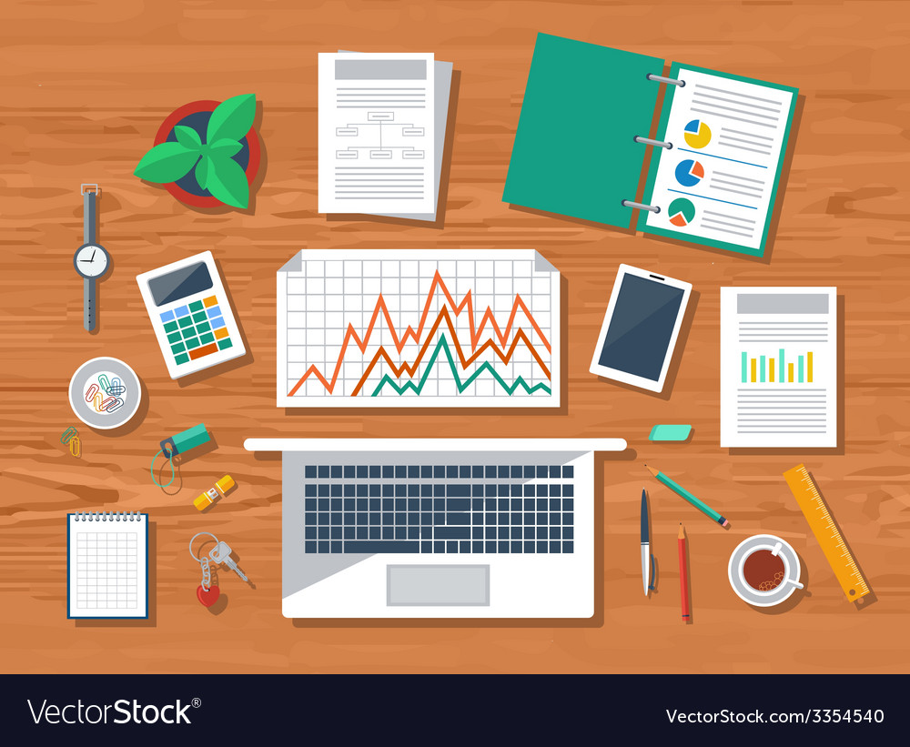 Top view of workplace with laptop and devices vector | Price: 1 Credit (USD $1)