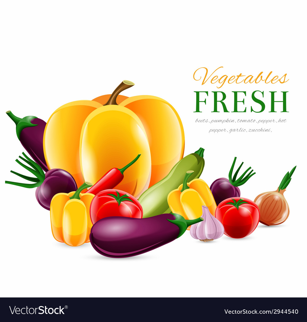 Vegetables group poster vector | Price: 1 Credit (USD $1)