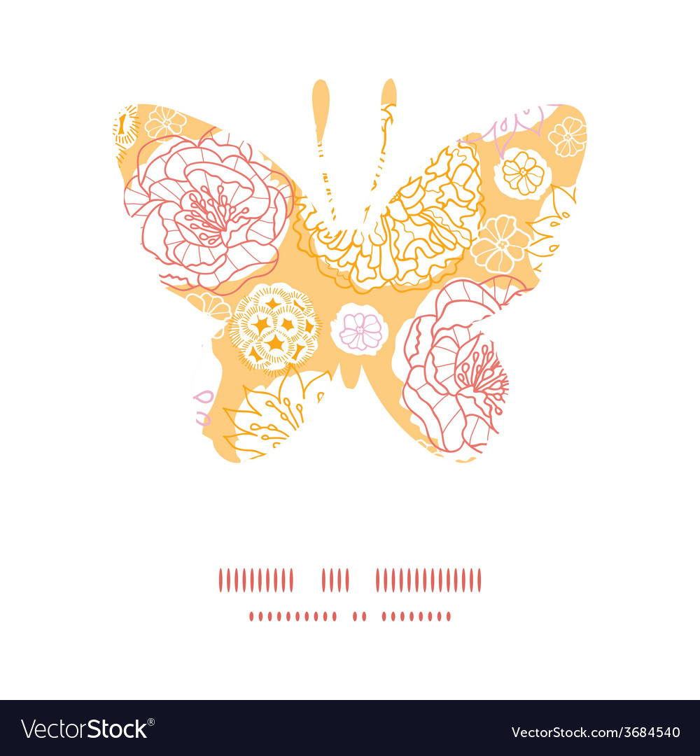 Warm day flowers butterfly silhouette pattern vector | Price: 1 Credit (USD $1)