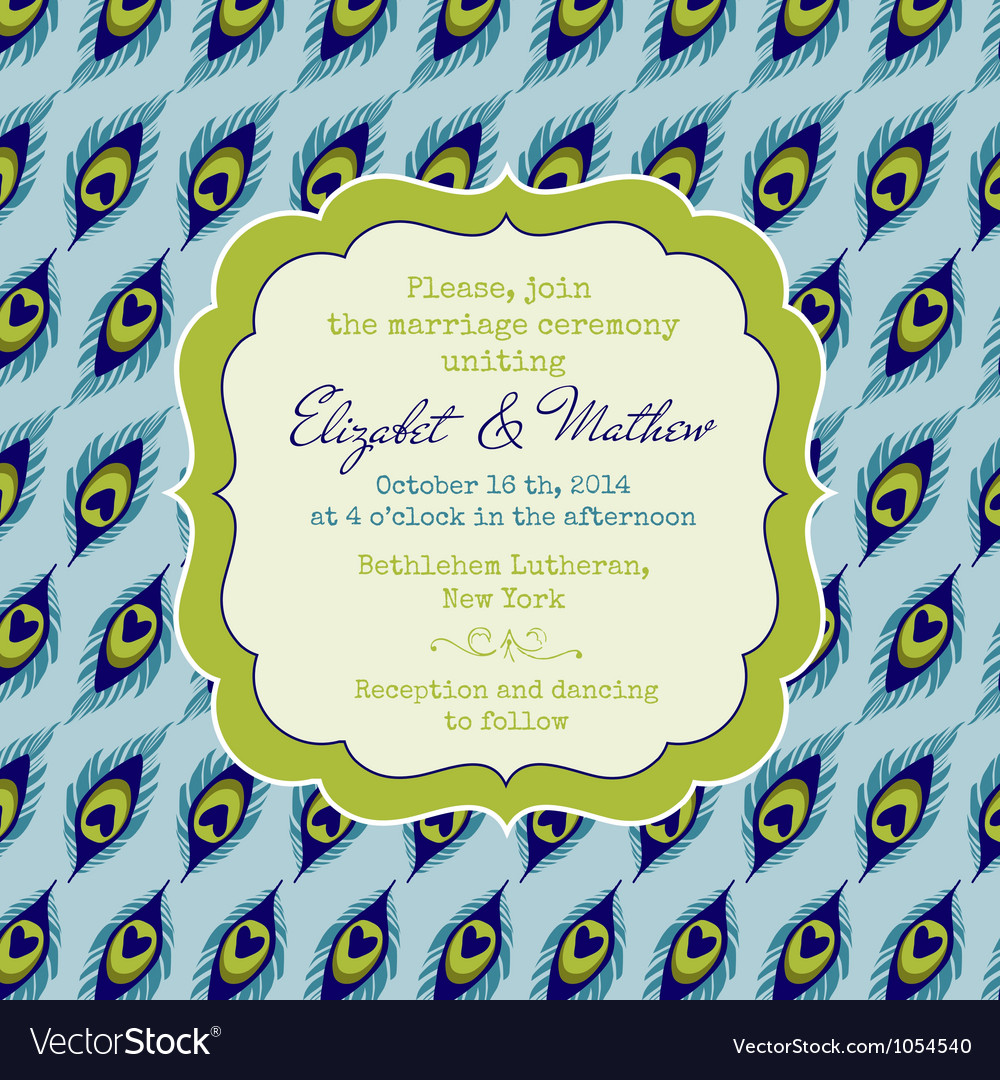 Wedding vintage invitation card - peacock theme vector | Price: 1 Credit (USD $1)