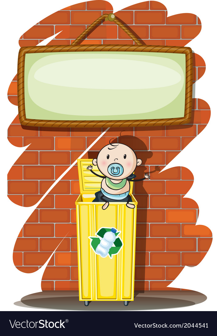 A trashcan with a baby below the hanging signboard vector | Price: 1 Credit (USD $1)
