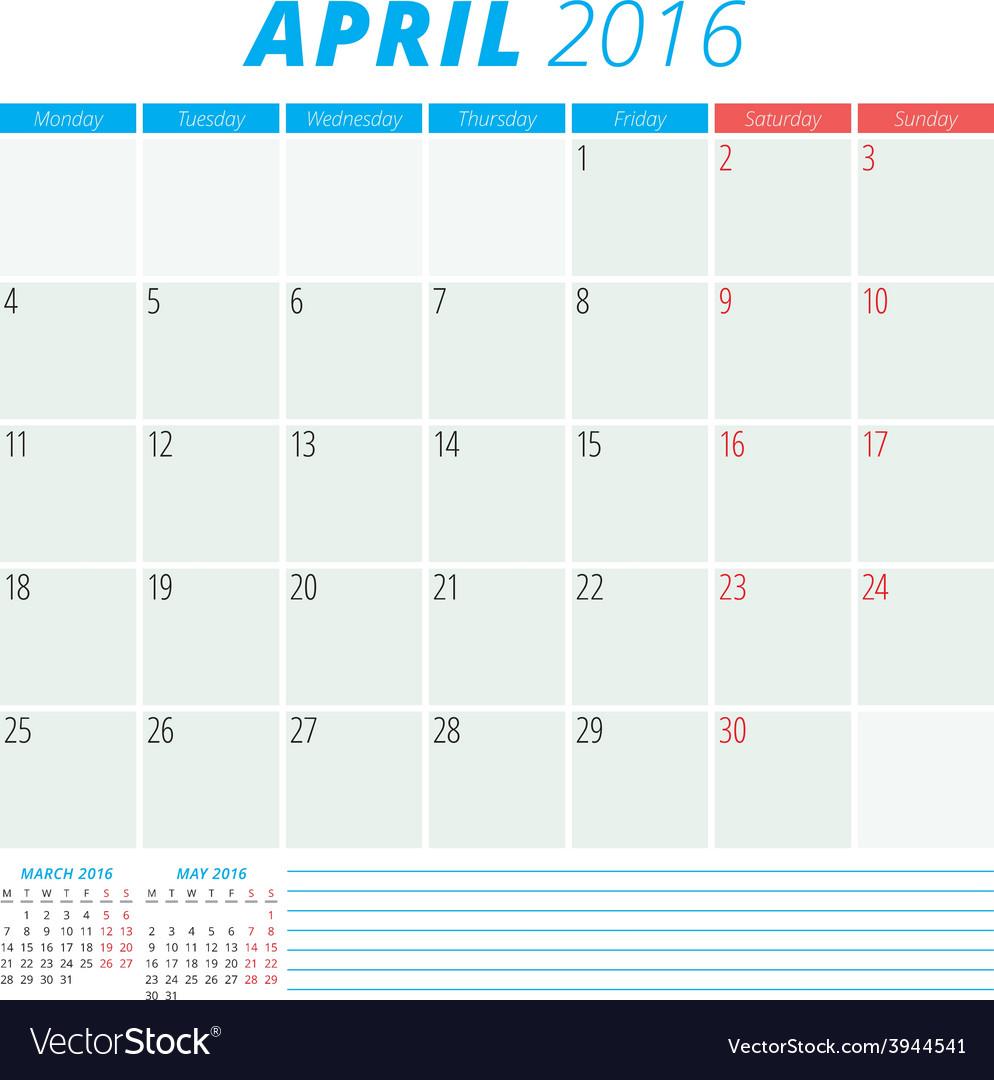 Calendar 2016 flat design template april week vector | Price: 1 Credit (USD $1)