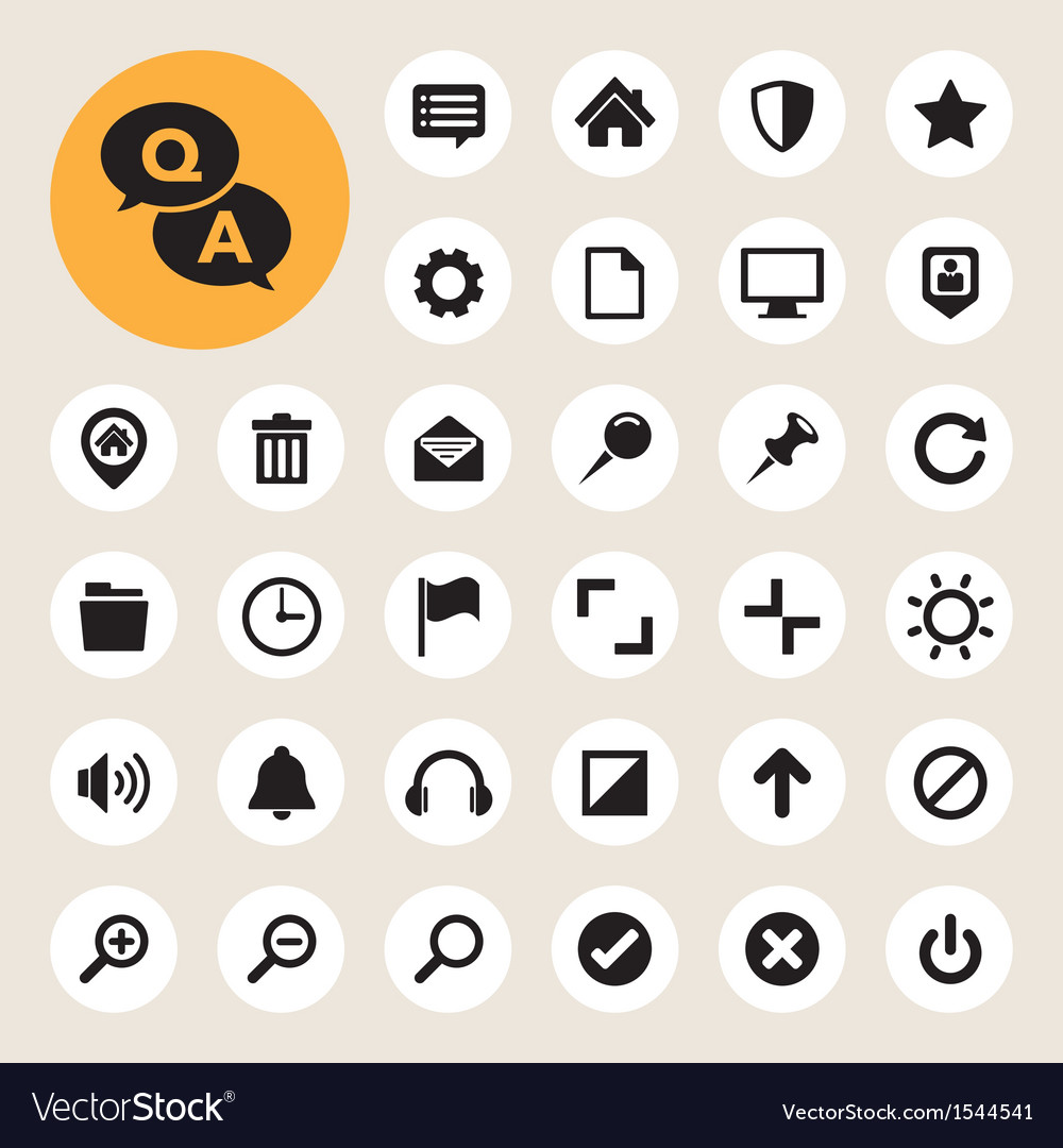 Computer menu icons set vector | Price: 1 Credit (USD $1)